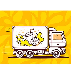 Truck free and fast delivering fresh frui vector