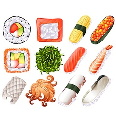 Different kind of sushi roll vector