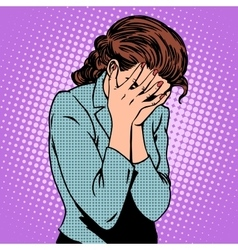 Weeping woman emotions grief vector