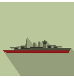 Warship flat icon vector
