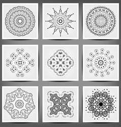 Set of ethnic ornamental floral pattern hand drawn vector