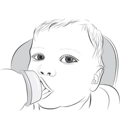 Baby drinking milk vector