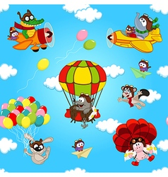 seamless pattern with animals in air vector image