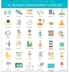 Business management color flat icon set vector