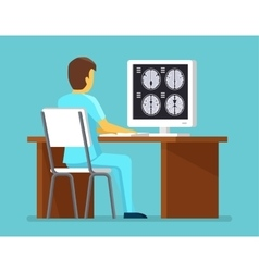 Doctor researches results of mri scan health and vector