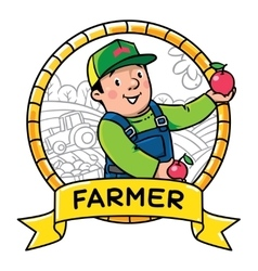 Funy farmer or gardener profession abc series vector