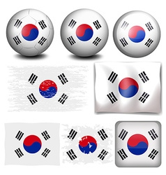 South korea flag on different objects vector