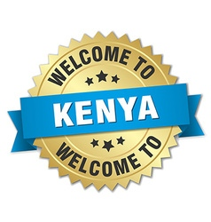 Kenya 3d gold badge with blue ribbon vector