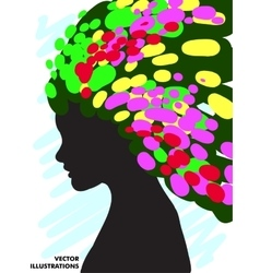 Decorative composition of girl silhouette with vector