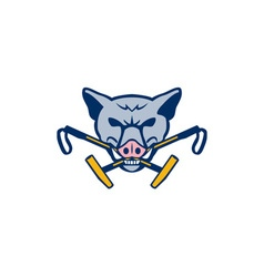 Wild hog head crossed polo mallet retro vector
