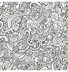 Cartoon hand-drawn doodles music seamless pattern vector