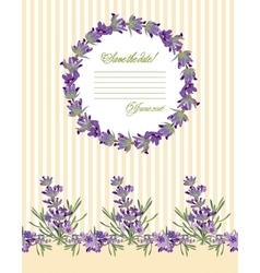 Greeting card with lavender flowers botanical vector