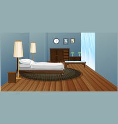 bedroom with wooden floor vector image vector image