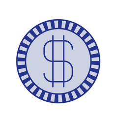 Blue silhouette of coin with money symbol vector