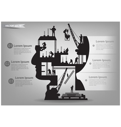 Building construction workers in silhouette head vector