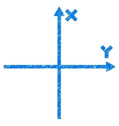 Cartesian axes grainy texture icon vector