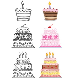 Cartoon birthday cake vector image vector image