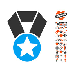 champion medal icon with lovely bonus vector image vector image