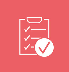 Checklist icon survey in flat design on red vector