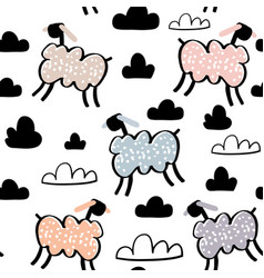 childish seamless pattern with hand drawn sheeps vector image