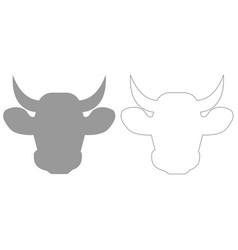 Cow head grey set icon vector