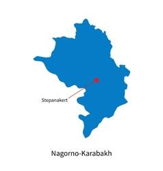 Detailed map of Nagorno-Karabakh and capital city vector image