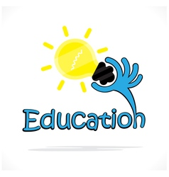 Education title text and hand shape Education sign vector image vector image