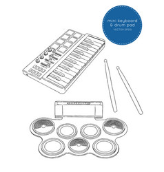 electronic drum pad kit and mini keyboard sketch vector image vector image