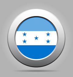 Flag of honduras shiny metal gray round button vector