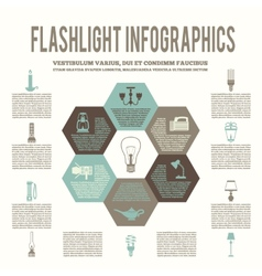 Flashlight and lamps flat infographic vector
