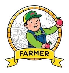 Funy farmer or gardener Profession ABC series vector image