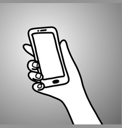 hand of businessman holding mobile phone vector image vector image