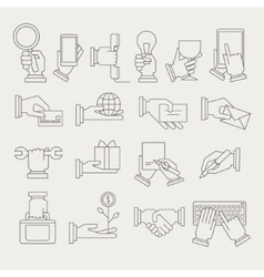 Hands With Different Objects Icon Set vector image