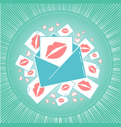 icon of love envelope with kisses vector image vector image