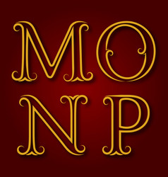M n o p golden vintage letters with shadow vector