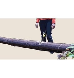 Man standing near timber with a jammed saw vector