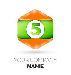 Number five logo in the colorful hexagonal vector