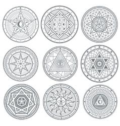 Occult mystic spiritual esoteric symbols vector