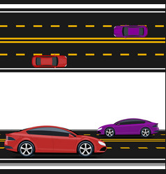 Purple and red cars are driving along the road vector