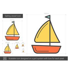 sailing vessel line icon vector image