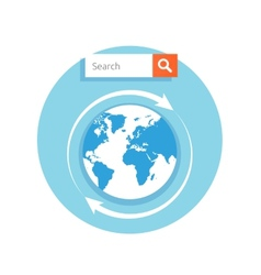 Search concept address bar with globe icon vector