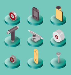 Skate flat isometric icons vector