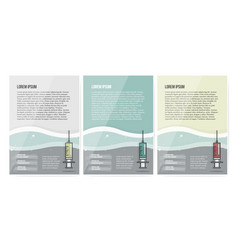 syringe symbol on set brochure design vector image vector image