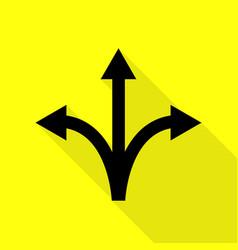 Three-way direction arrow sign black icon with vector