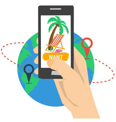 Vacation planning with smart phone vector