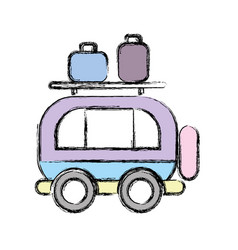 Van transportation with bags to travel vector