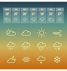 Weather forcast line icons on hot vector