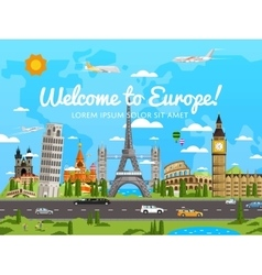 Welcome to Europe poster with famous attractions vector image vector image