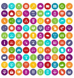 100 internet icons set color vector