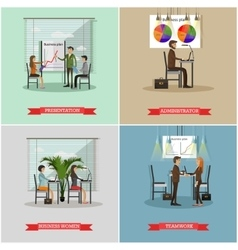 Set of office interior banners in flat vector